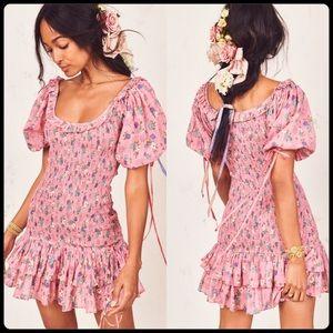 LoveShackFancy Violet Dress - Hollywood Pink